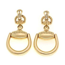Gucci 18k Yellow Gold Horse Bit Drop Dangle Earrings
