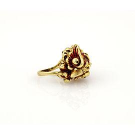 Vintage 18K Yellow Gold Enamel Owl Ring