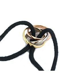 Cartier Trinity 18k Tricolor Gold Mini Ring Charm Cord Bracelet w/Cert