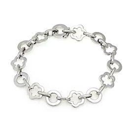Chanel Camellia 18k White Gold Floral Circle Charm Link Bracelet