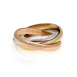 Cartier Trinity 18k Tri-Color Gold 3.5mm Rolling Band Ring Size EU 62-US 10