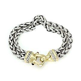 David Yurman Tourmaline Sterling 14k Gold Hook Clasp Double Chain Bracelet