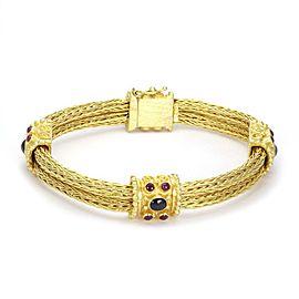 Estate 2 Carats Ruby & Sapphire 18k Gold Double Weave Link Fancy Bracelet