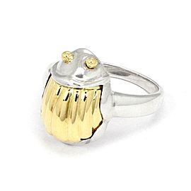 Tiffany & Co. Vintage Sterling 18k Yellow Gold Scarab Beetle Ring Size - 5