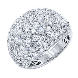 18K White Gold Diamond Cluster Pave Right Hand Ladies Ring 4.75cttw Size 6.5