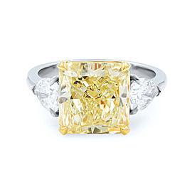 Three Stone Diamond Engagement Ring 4.59Cts Light Yellow Pear Cuts 0.97 Platinum