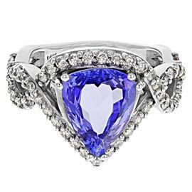 Rachel Koen Tanzanite Split Shank Diamond Ring 14K White Gold 4.31cts