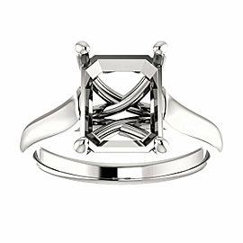 Rachel Koen Platinum Cathedral Emerald Cut Engagement Ring Mounting Size 6.5