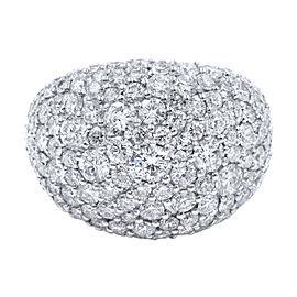 Rachel Koen 18K White Gold Large Pave Diamond Encrusted Ladies Ring 5.17cttw