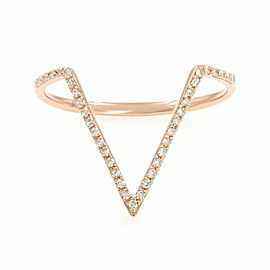 Rachel Koen Micro Pave Diamond V Ring 14K Rose Gold 0.11cttw SZ7