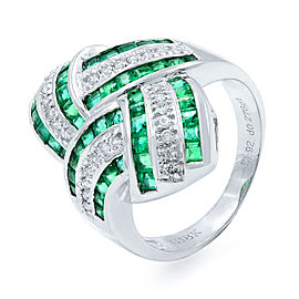 Rachel Koen Green Emerald Diamond STATEMENT Ring Size 8.25 18K White Gold 1.92ct