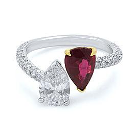 Ruby Diamond Two Pear Shape Cross Over Handmade Ring Platinum Size 6.5