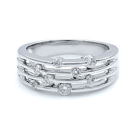 Rachel Koen 14K White Gold Diamond Band Ring Size 7 0.35cts
