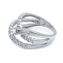 Rachel Koen 10K White Gold Wide Diamond Crossover Ladies Ring 0.60cts Size 7
