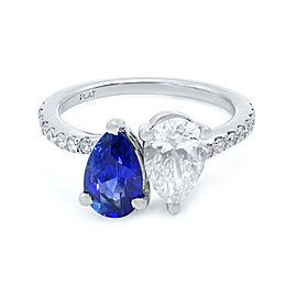 Rachel Koen Sapphire Diamond Two Pear Shape Cross Over Ring Platinum Size 6.5