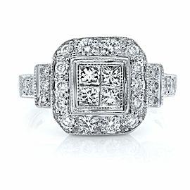 Rachel Koen 14K White Gold Princess Cut Center Halo Engagement Ring 1.0ct SZ 8