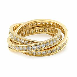 Cartier 18K Yellow Gold Diamond Trinity Ring Size 6.25