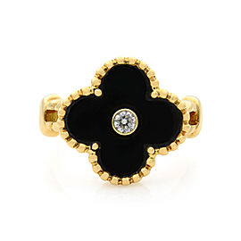 Van Cleef & Arpels Alhambra Diamond Onyx 18K Yellow Gold Ring Size 6