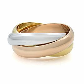 Cartier 18k Three-tone White Yellow and Pink Gold Classic Trinity Ring SZ 5.5