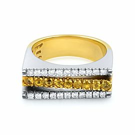 Salvini 18K Yellow White Gold Diamonds Yellow Sapphire Cocktail Ring size 7