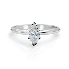 Marquise Cut Diamond Engagement Ladies Ring 14K White Gold 0.46 Cttw Size 5.75
