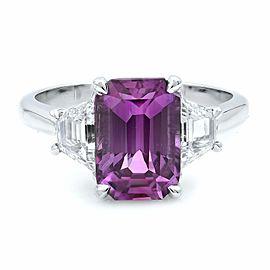 Rachel Koen 18K White Gold Emerald Pink Sapphire Diamond Engagement Ring Size 7