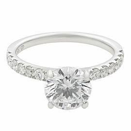 Rachel Koen 18K White Gold Round Cut Diamond Engagement Ring 1.54Ct Size 6.75