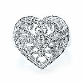Rachel Koen 14K White Gold Diamond Heart Shaped Ladies Ring 0.50ct Size 8
