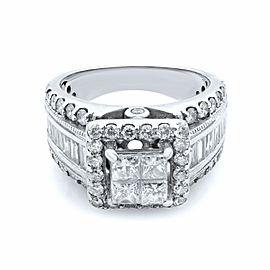 Rachel Koen 14K White Gold Princess Head Diamond Wide Engagement Ring SZ 5