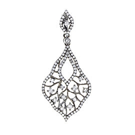 Rachel Koen White Gold Black Rhodium Diamond Drop Pendant 14K 0.67cttw