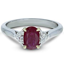 Rachel Koen Three Stone Oval Burma Ruby Diamond Ring 1.36ct 18K White Gold