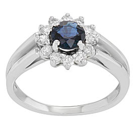 14K White Gold 0.66 Cttw Sapphire & 0.12 Cttw Diamonds Ladies Ring
