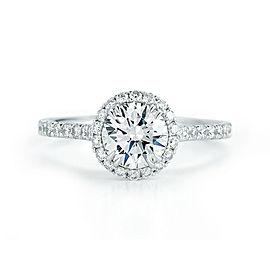 Round Cut Halo Set Diamond Engagement Ring in Platinum 1.28cts