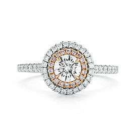 Double Halo Pink Diamond Round Cut Engagement Ladies Ring Platinum 1.17 cttw