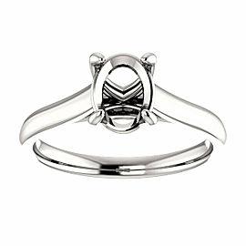 Rachel Koen Oval Cut Diamond Solitaire Engagement Ring Mounting 14K White Gold