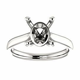 Rachel Koen 14K White Gold Oval Shape 4 Prong Engagement Ring Mounting Size 6.5