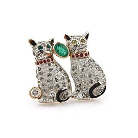 Vintage 3.30ctw Diamond Ruby & Emerald 14k Gold 2 Cats Brooch Pin