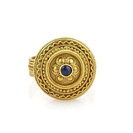 Vintage Sapphire 22k Yellow Gold Fancy Floral Round Shape Ring Size - 7.5