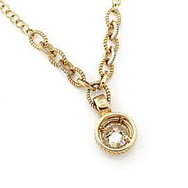 Estate 1.92ct Solitaire Diamond w/Accent 14k Gold Round Pendant & Chain