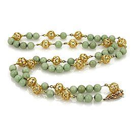 "Vintage Jade 18k Yellow Gold Fancy Open Work Filigree Long Beaded Necklace 38""L"