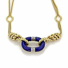 Estate Diamond & Lapis 18k Two Tone Gold Double Woven Fancy Chain Necklace