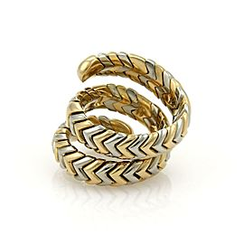 Bulgari Bvlgari SPIGA 18k Yellow Gold & SSteel Wide Wrap Band Ring Size 6