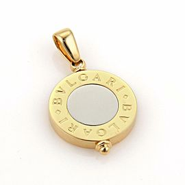 Bulgari Bvlgari 18k Two Tone 18k & Stee Signature Circle Pendant