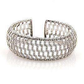 Gorgeous 3.00ct Diamonds 18k White Gold 24mm Wide Dome Cuff Bracelet