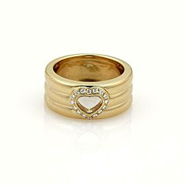 Chopard Diamond 18k Yellow Gold 8.5mm Wide Heart Band Ring Size 5.5