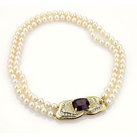 Estate 12.75ct Amethyst & Diamond Saltwater Pearls 18k Gold Choker Necklace