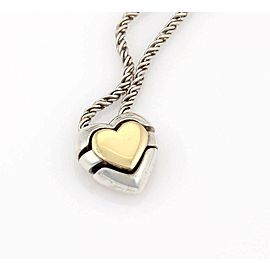 Tiffany & Co. 18k Yellow Gold 925 Silver Slide Heart Puzzle Pendant Necklace