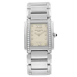 Patek Philippe 24 Diamond Steel Quartz Ladies Watch 4910-10A-011