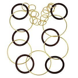 Fabulous 18k Yellow Gold & Wood Large Circle Link Necklace