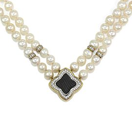 David Yurman Quatrefoil Diamond Onyx Pearls 18k Gold Double Strand Necklace